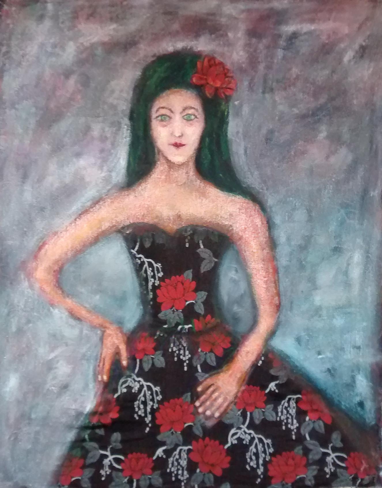 Mujer con vestido de flores